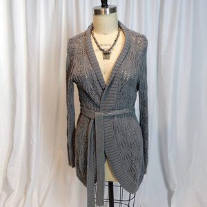 Sonoma Grey Knitted Lace Sweater Wrap with Waist Tie